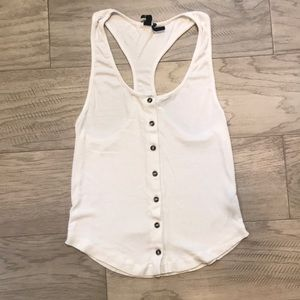 URBAN OUTFITTERS White Racerback Button Tank